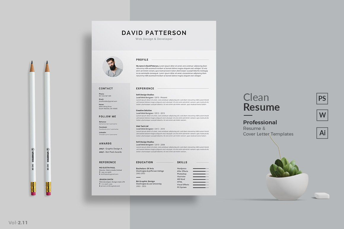 A4 paper size • Main 2 Page (Resume + Cover letter