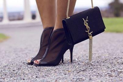 Mesh ankle booties and Yves Saint Laurent tassel bag