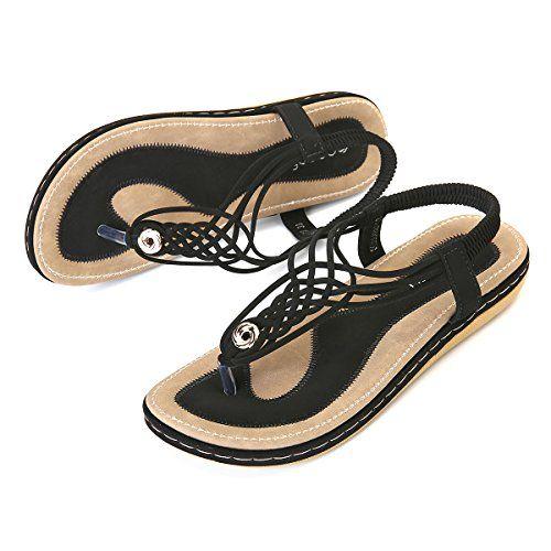 dc946609534 Socofy Sandales Plates Femme Chaussures de Ville Été à Talons Plats  Compensées Tong Claquettes Entredoights avec Semelle Matelassée Bout Ouvert  Style ...