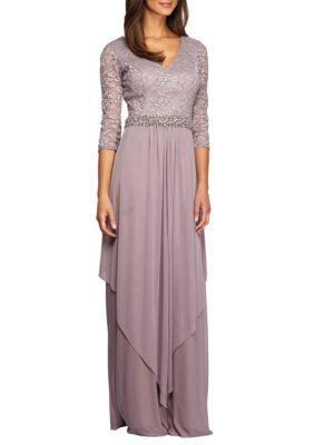 9d3c7ed4afbf Alex Evenings Long V-Neck Gown | Products | Lace evening gowns ...