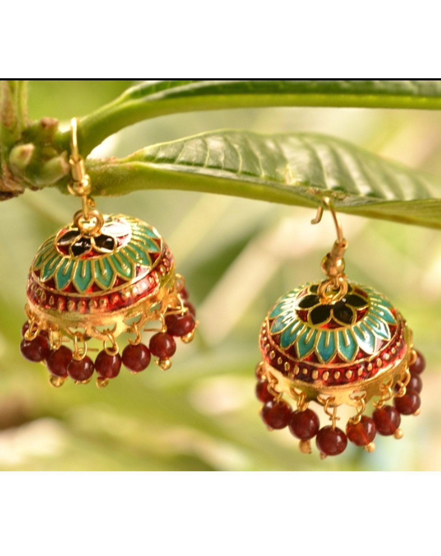 Shree Varam Multicoloured Meenakari Jhumka Earrings