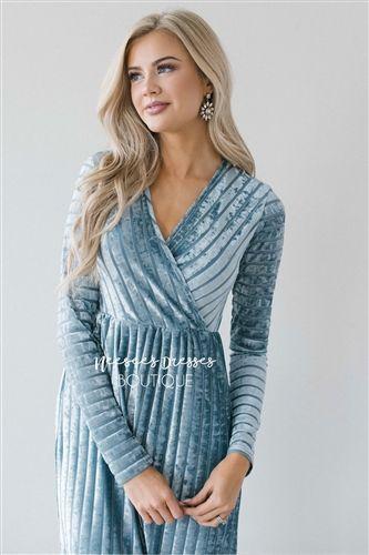 cda7270025b Dusty Blue Velvet Long Sleeve Maxi Modest Dress