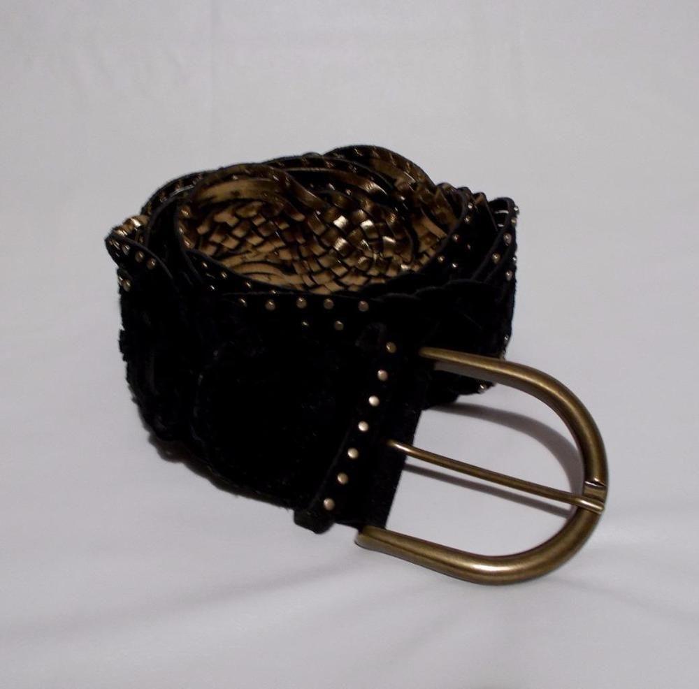 Michael kors braided belt black suede metal studs buckle braided belt