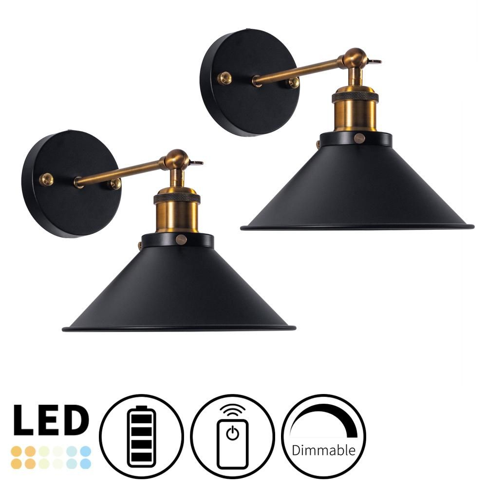 Nunulighting Battery Operated Cordless Wall Sconce Dimmable Led Remote Control Vintage In 2020 Dimmable Led Wall Sconces Wall Sconces Bedroom