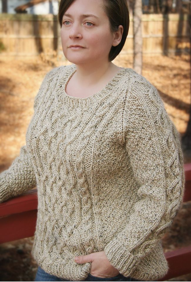 Gorgeous Scoop-Necked Cabled Sweater - Olwen Sweater ...