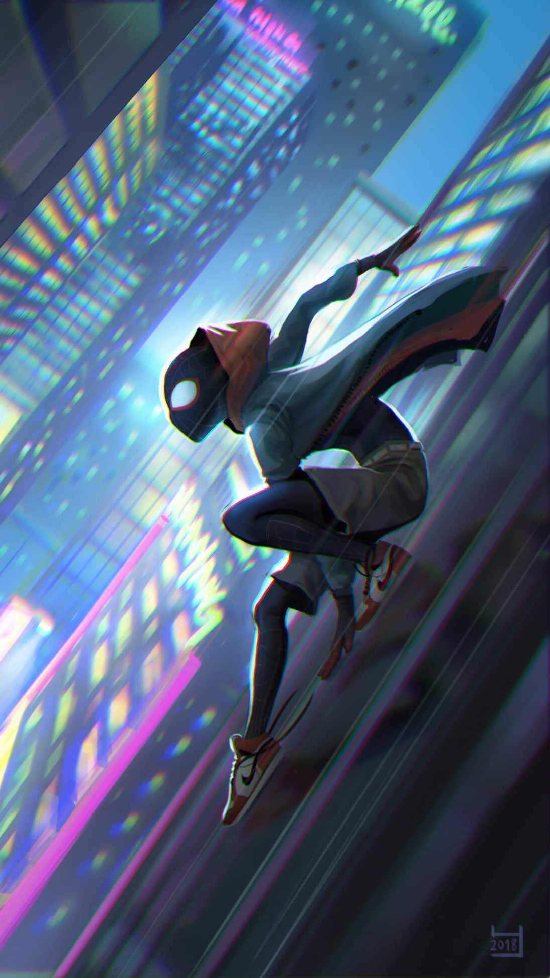Spiderman Into The Spider Verse Slide Iphone Wallpaper Spider Verse Marvel Wallpaper Spiderman