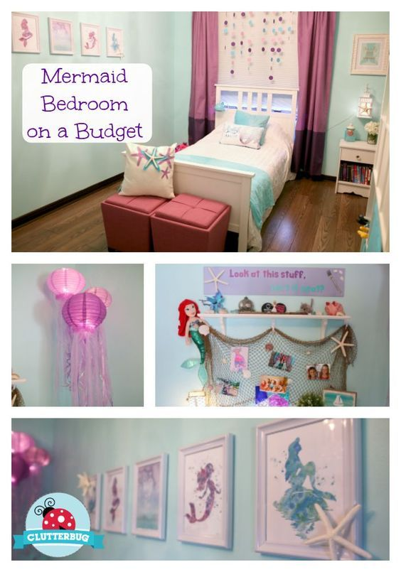 DIY Mermaid Bedroom on a Budget - Before and After Room Tour