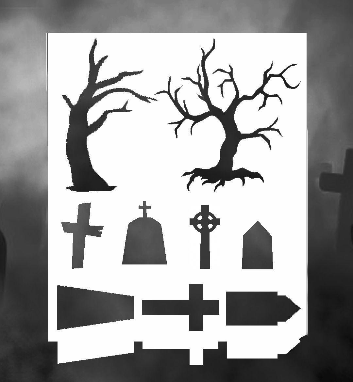 Airbrush Stencil Grave Yard Cemetery Trees Templates Stencils Spray ...