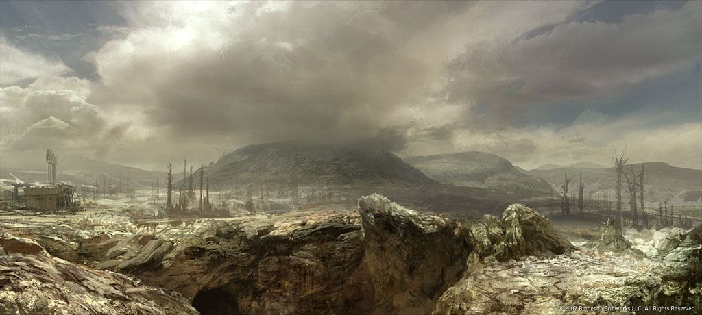 destroyed landscape with hill and clouds fallout pinterest