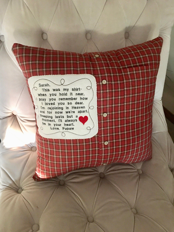 Memorial pillow from shirt  Quilt Pillow  Keepsake