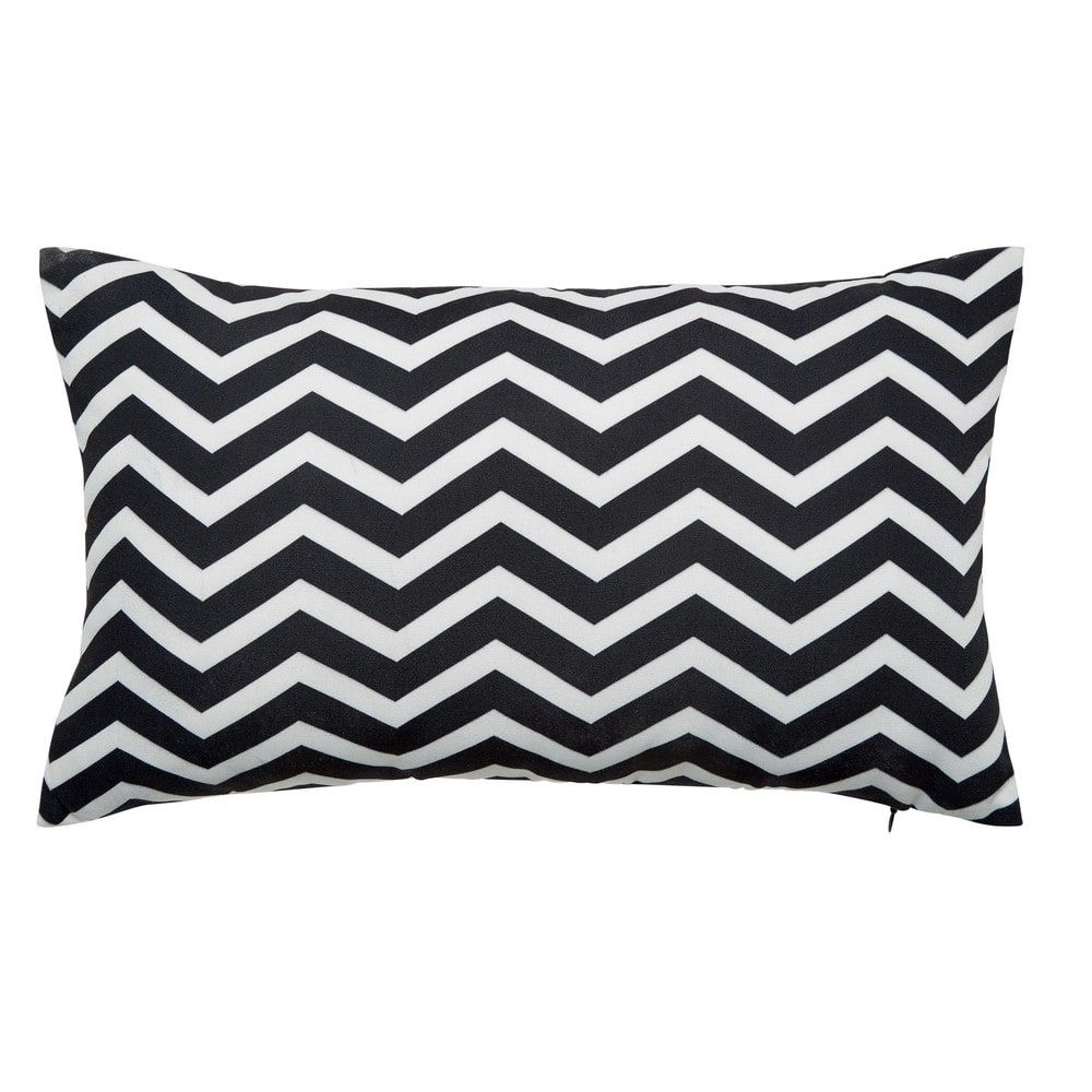 Talaia White Black Outdoor Cushion 30 X 50cm Maisons Du Monde