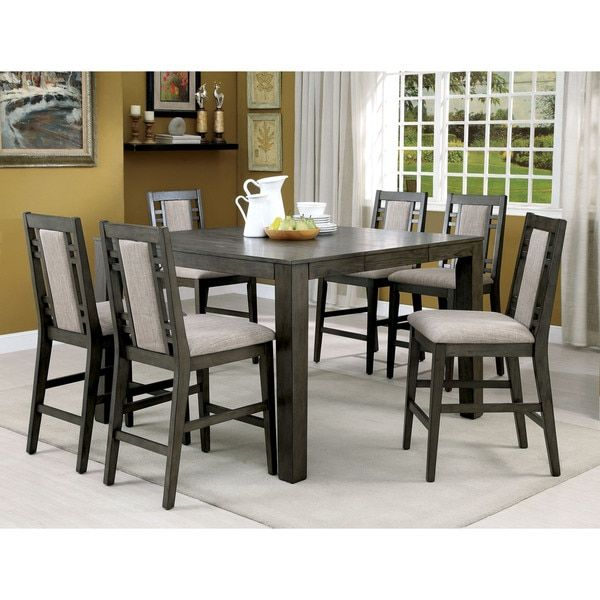 Furniture of America Basson Rustic 7-piece Grey Counter Height Dining Set | Overstock.com Shopping - The Best Deals on Dining Sets