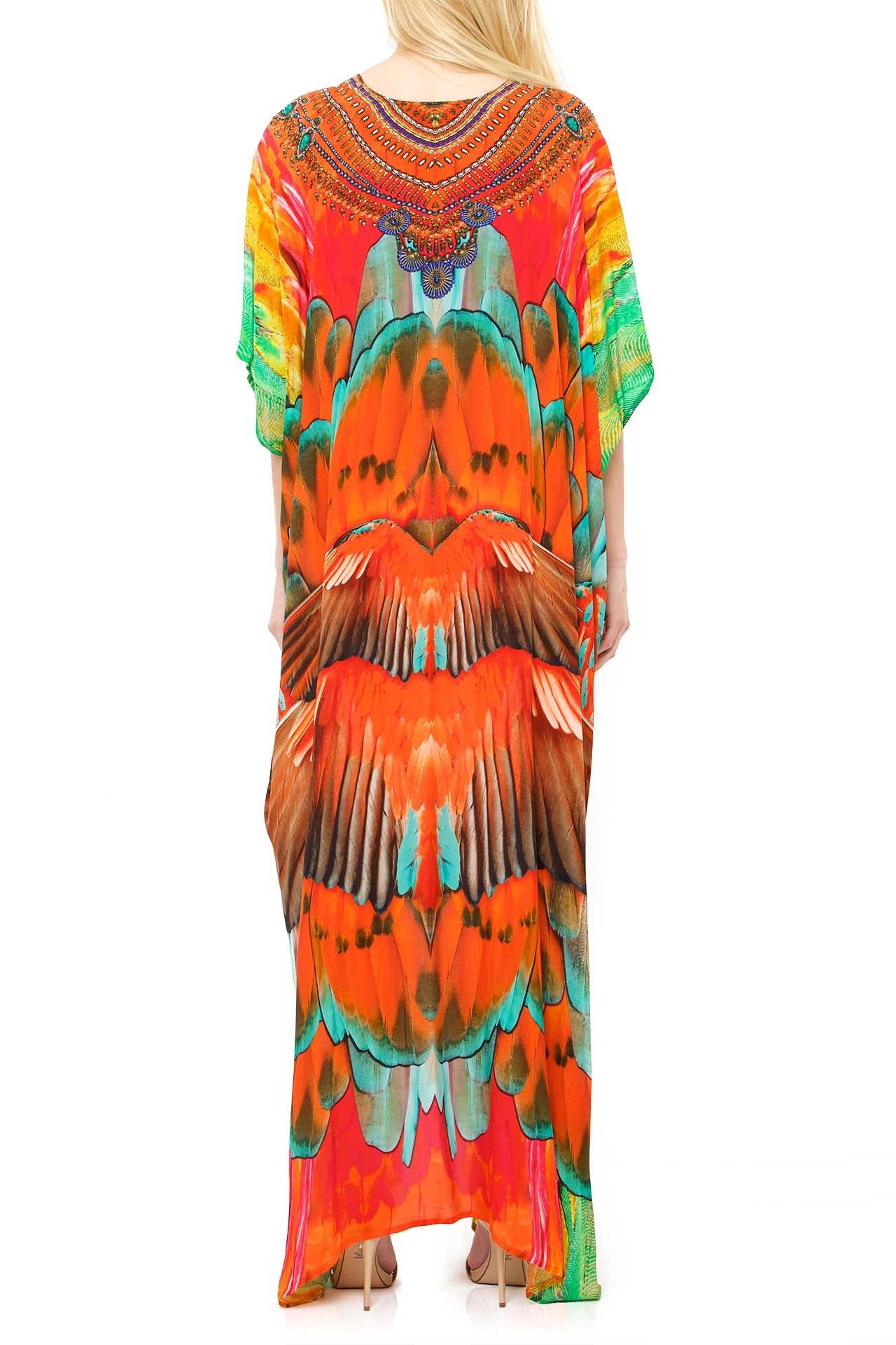 Red feather print kaftan dress kaftan kaftans and maxi dresses