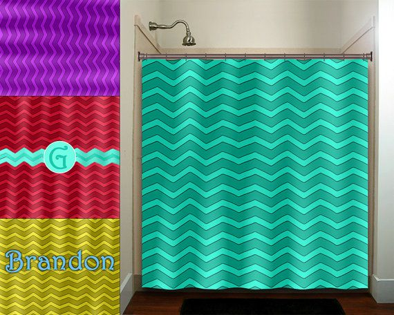 Personalized Color Aqua Blue Green Chevron Shower Curtain With