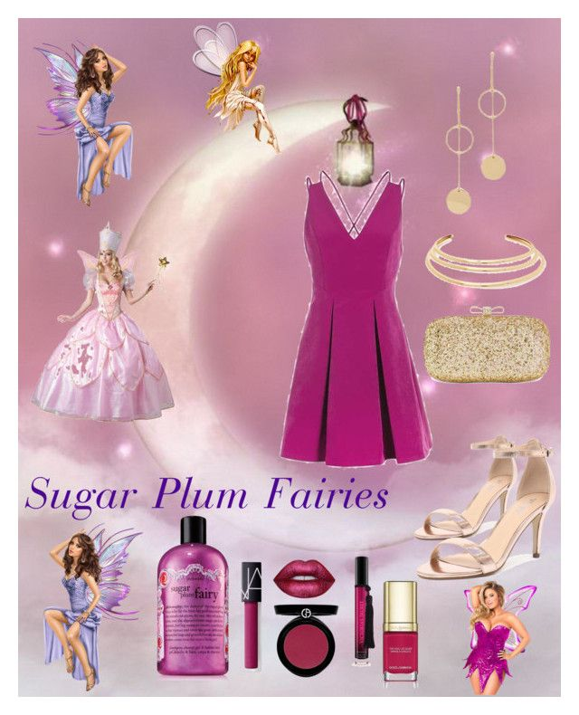 """""""Sugar Plum Fairies"""" by neesyrn ❤ liked on Polyvore featuring Verali, INC International Concepts, Cloverpost, Kenneth Jay Lane, Topshop, Victoria's Secret, Giorgio Armani, Dolce&Gabbana, Lime Crime and NARS Cosmetics"""