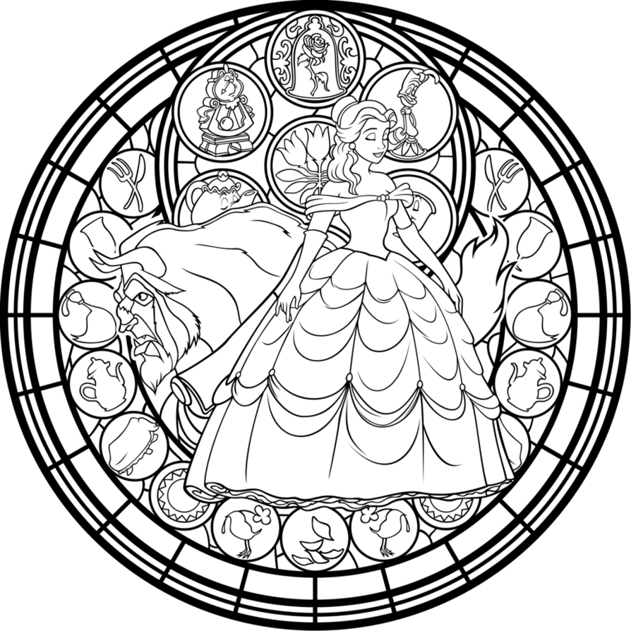 Beauty And The Beast Disney Coloring Pages Disney Stained Glass Mandala Coloring Pages