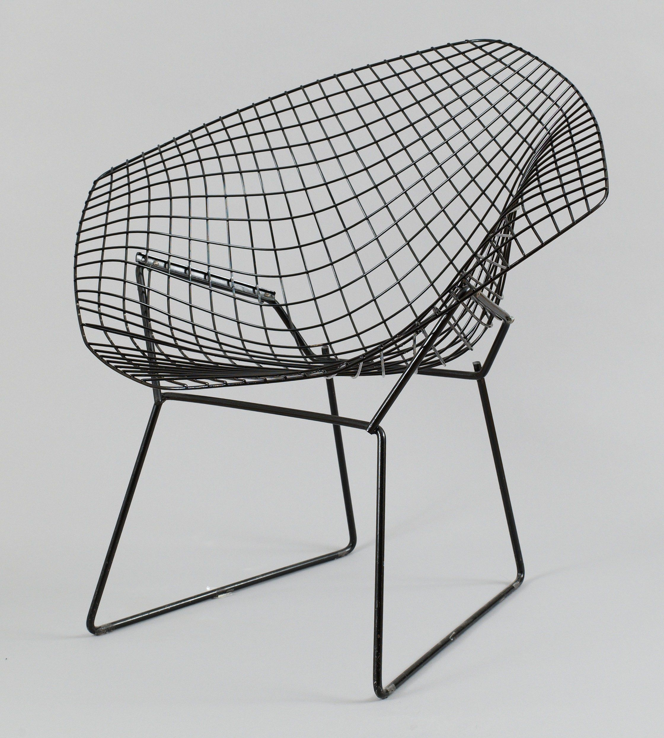 A Harry Bertoia Black Metal Diamond Chair