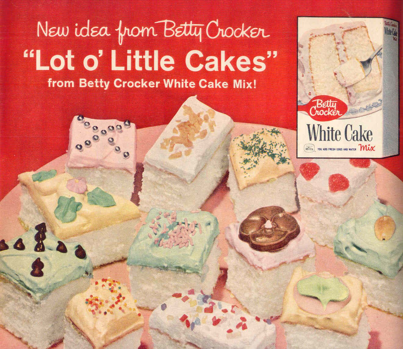 Lot o' Little Cakes from a Betty Crocker cake mix.  Strange color palette.