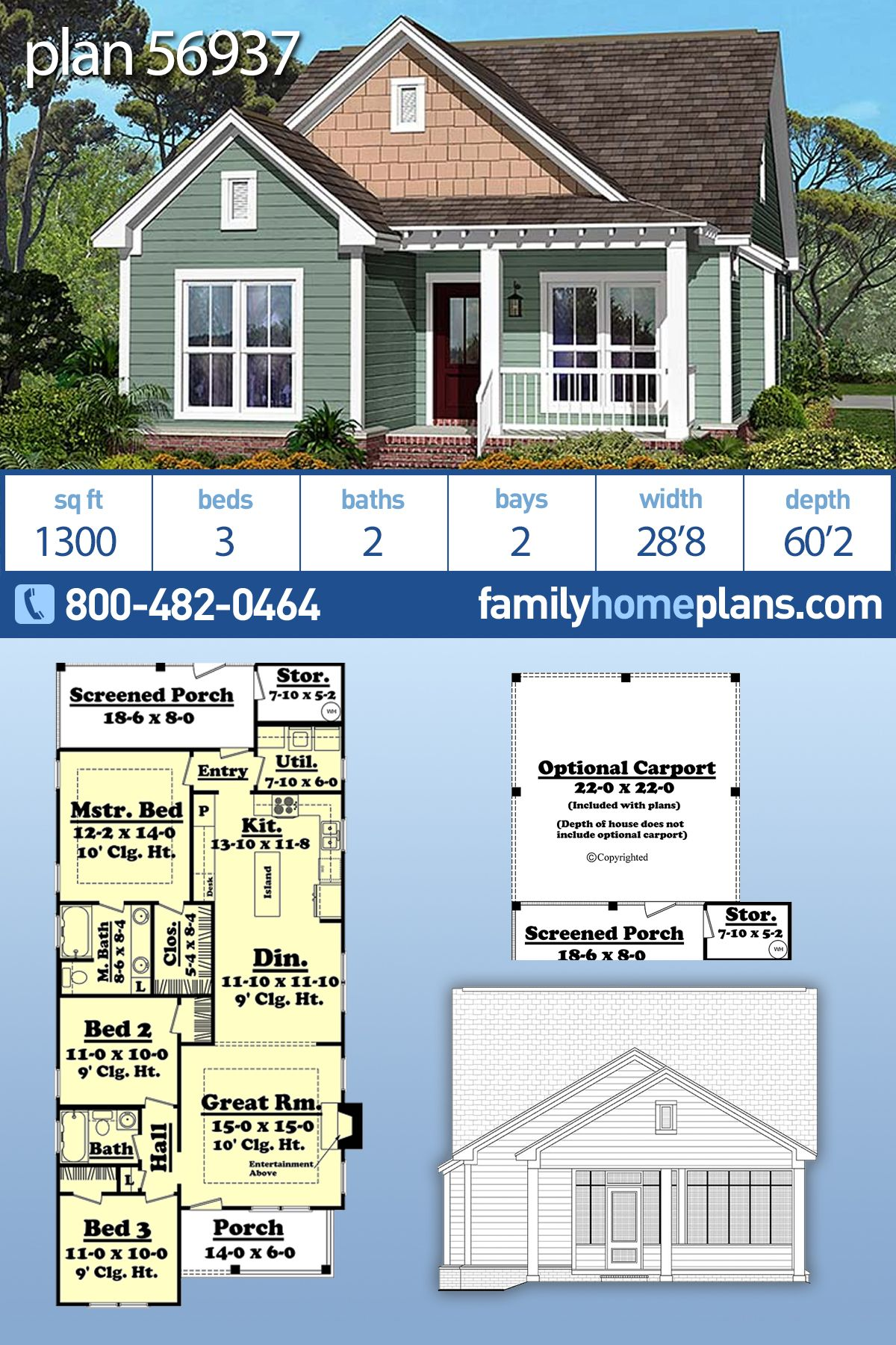 Traditional Style House Plan 56937 With 3 Bed 2 Bath 2 Car Garage Craftsman Style House Plans Cottage Plan Family House Plans