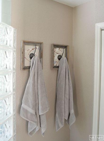 Framed Fabric Towel Hook Update Bathroom Towel Hooks Towel Hooks Framed Fabric