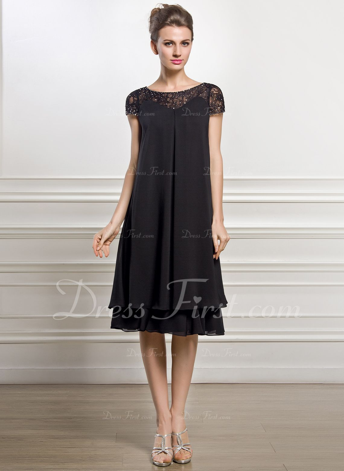 Cocktail dresses wedding  Empire Scoop Neck KneeLength Chiffon Mother of the Bride Dress With