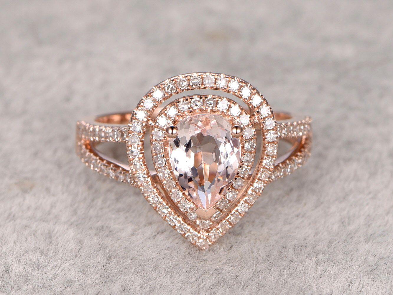 Morganite Engagement Ring Rose Gold,double Halo Diamond Wedding  Band,14k,6x8mm Pear