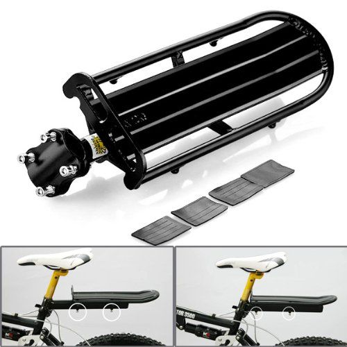 Black Aluminum Cycling Extendable Bicycle Bike Seat Post Rear Carrier Cargo Rack