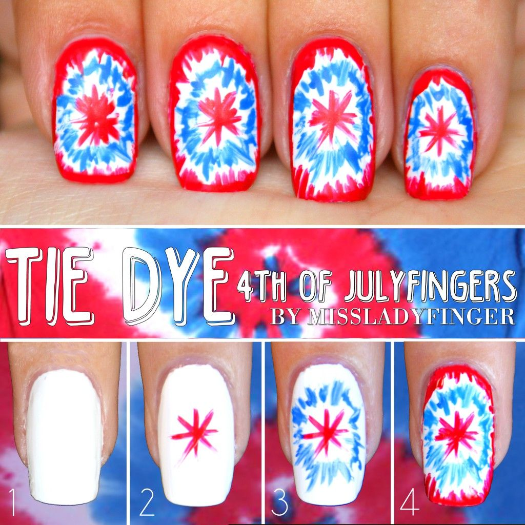 4th of Julyfingers: 3 Easy Nail Art Ideas - Miss Ladyfinger | Nails ...