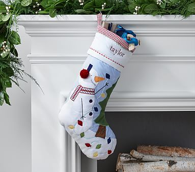 Snowman Blue Quilted Stocking #pbkids Advent Calendars Pinterest