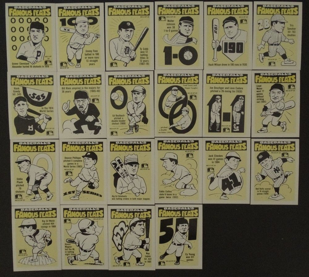 1986 Fleer Famous Feats Team Logo Sticker Cards Set Of 22