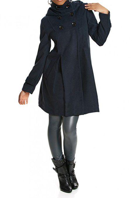40a8702c8077 Laeticia Dreams Damen Mantel mit Kapuze Jacke XS S M L XL XXL,  Farbe Marineblau
