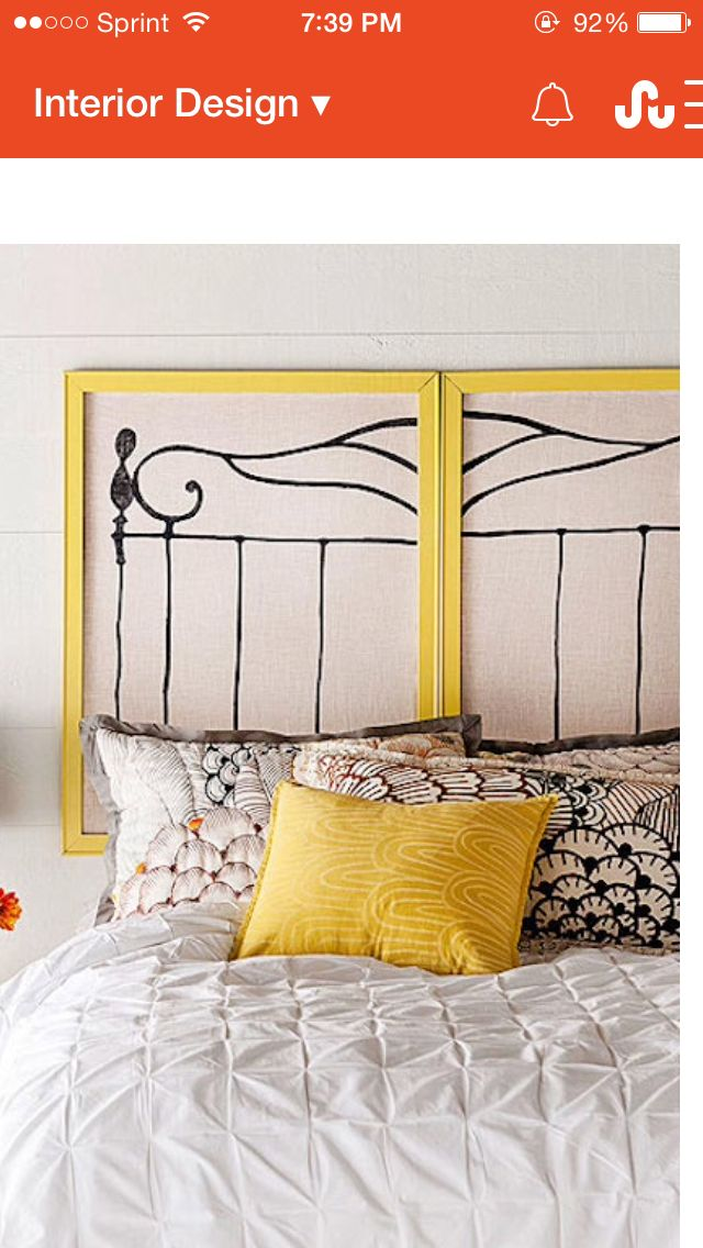 Id love to make false roman shades and paint that entire headboard painting onto it