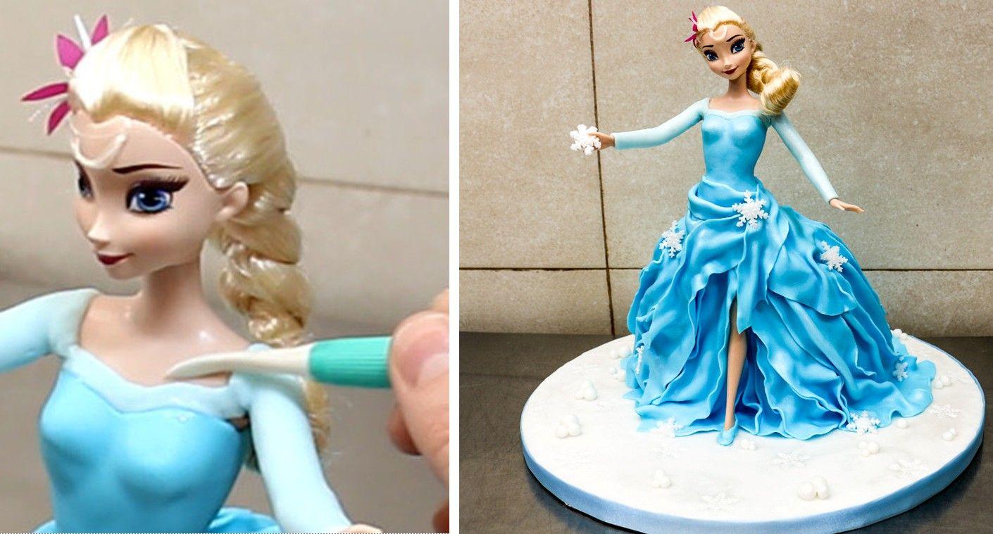 Pin By Viviane Ngonga On Elsa In 2020 Elsa Doll Cake Frozen Elsa Doll Cake Doll Cake Tutorial