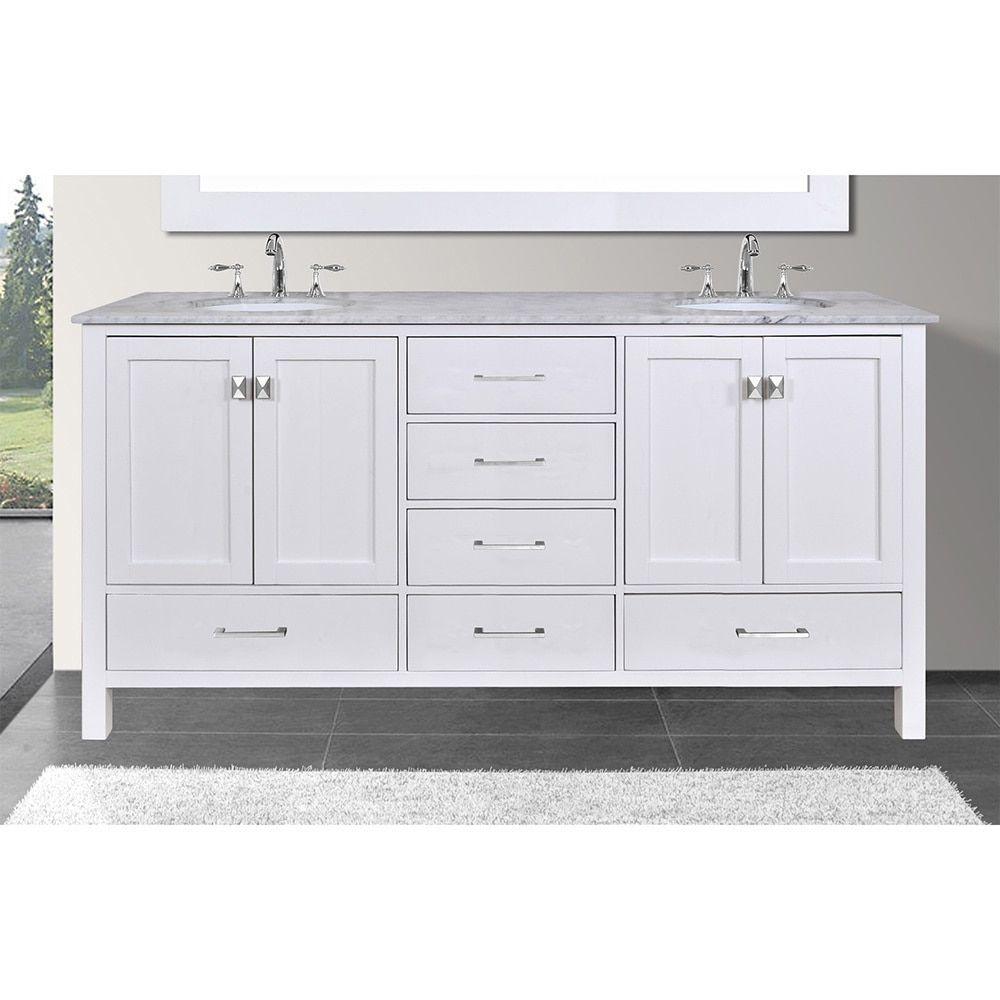 Malibu 60-inch Carrara Marble Top Pure White Double Sink Bathroom ...