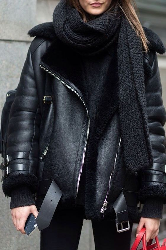 New black faux leather shearling warm women aviato