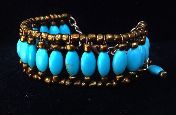 Turquoise and Copper Bracelet by BeriMadeJewelry on Etsy