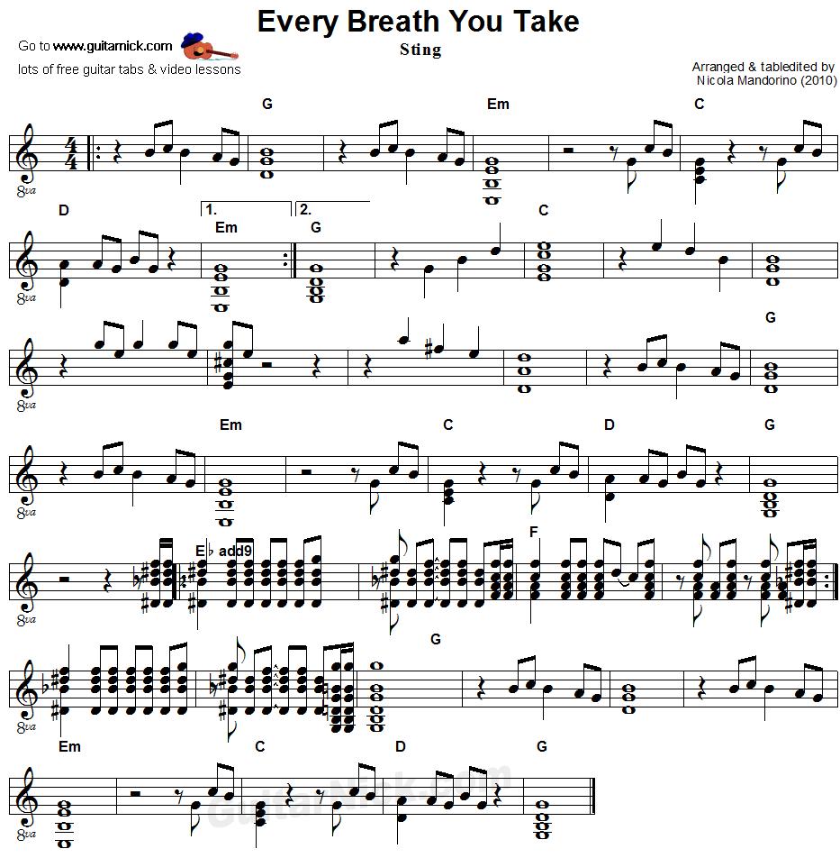 Every Breath You Take Flatpicking Guitar Sheet Music Guitar Chords For Songs Guitar Guitar Sheet Music
