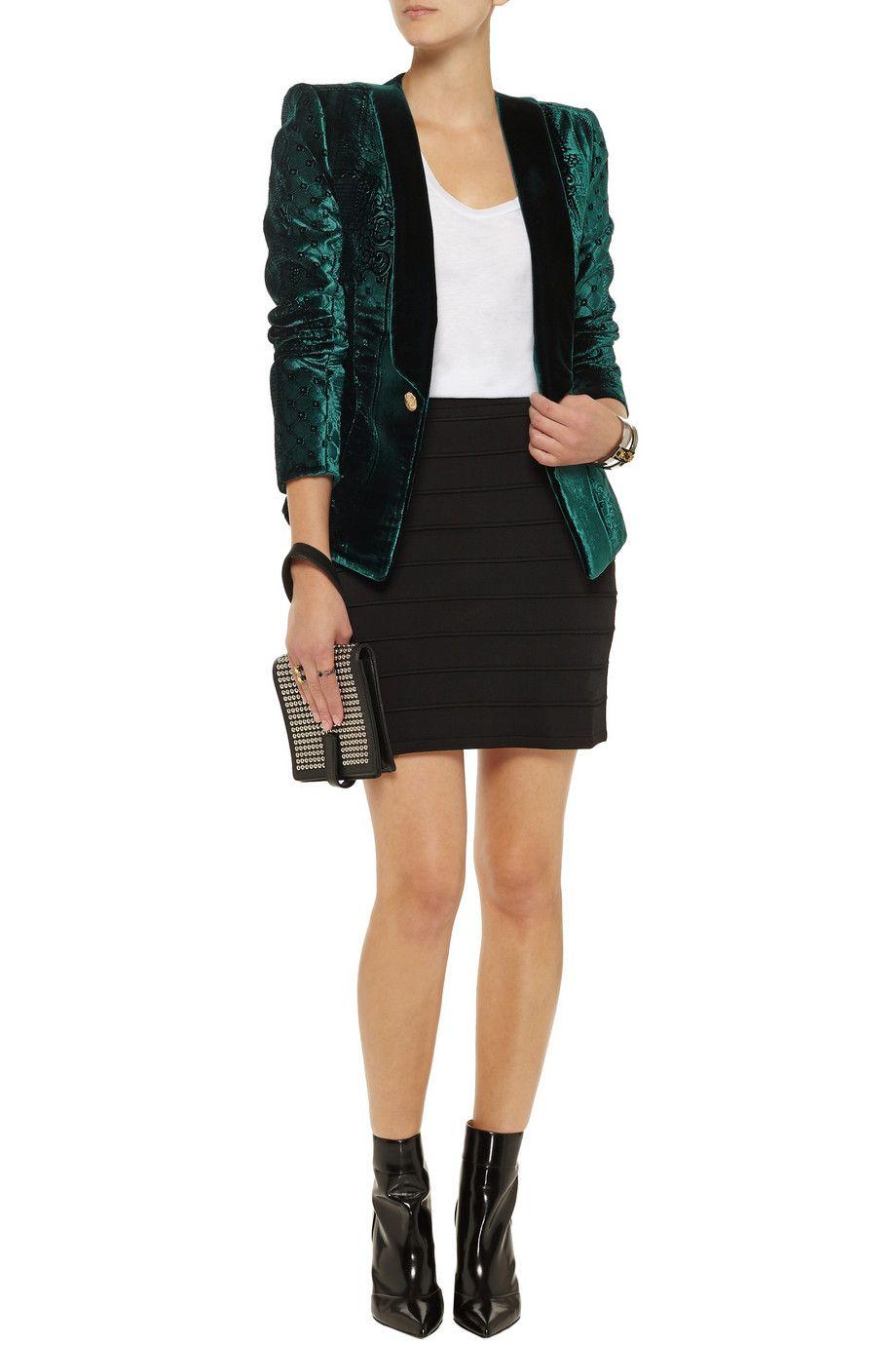 Velvetbrocade blazer balmain off the outnet style