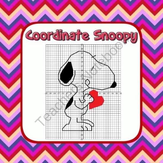 Snoopy Coordinate Grid Valentine's Activity! Enter for your chance to win 1 of 5.  Snoopy Valentines Coordinate Graphing Fun! - Ordered Pairs, Blank Grid, all 4 Quadrants (3 pages) from Mathematic Fanatic on TeachersNotebook.com (Ends on on 2-10-2014)  Snoopy Coordinate Grid Valentine's Activity - all 4 quadrants