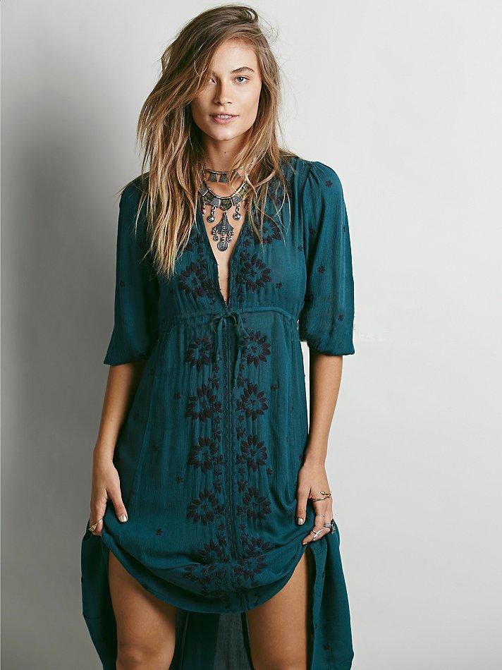 2016 new Dark green dress Women Vintage Ethnic Flower Embroidered Cotton  Tunic Casual Long Dress Hippie 944d9091223c