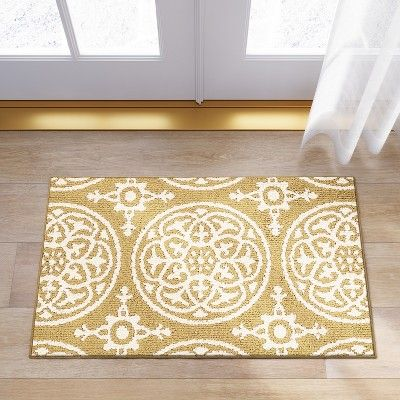 1 8 X2 10 Medallion Washable Tufted And Hooked Accent Rug Yellow Threshold Rugs Machine Washable Rugs Medallion Rug