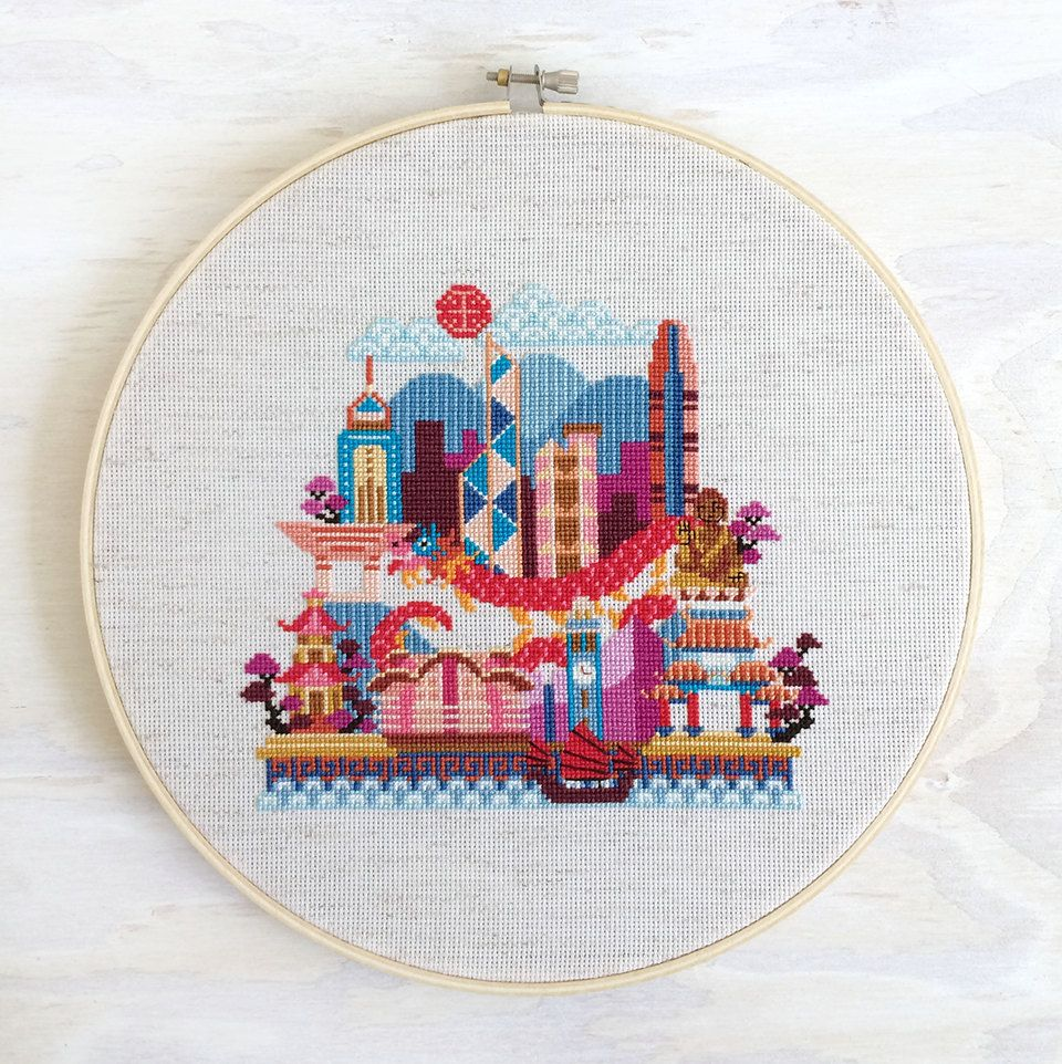 City cross stitch patterns including new york san francisco