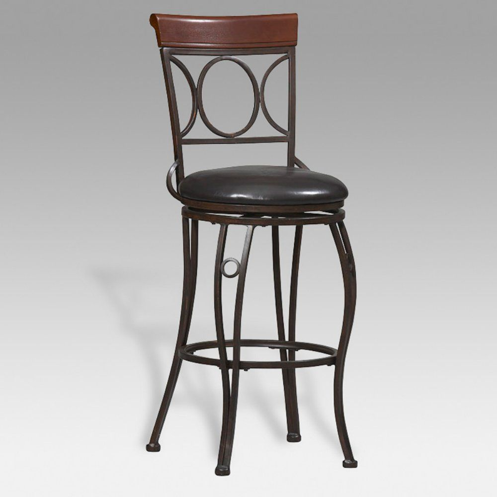 Old World Elegance: Linon 24 Inch Bingham Circles Back Swivel Counter Stool