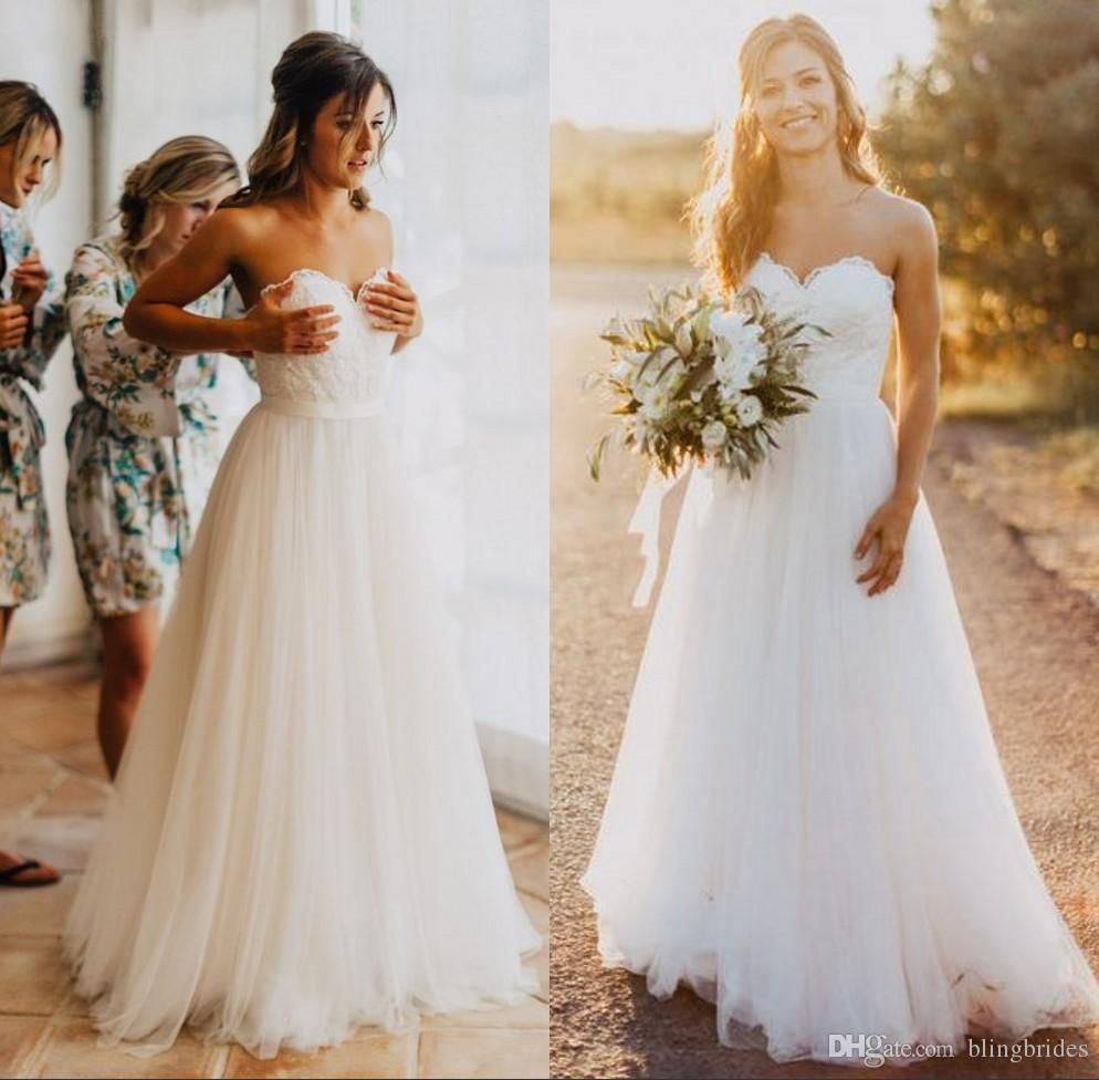 Elegant tulle beach wedding dresses sweetheart backless lace