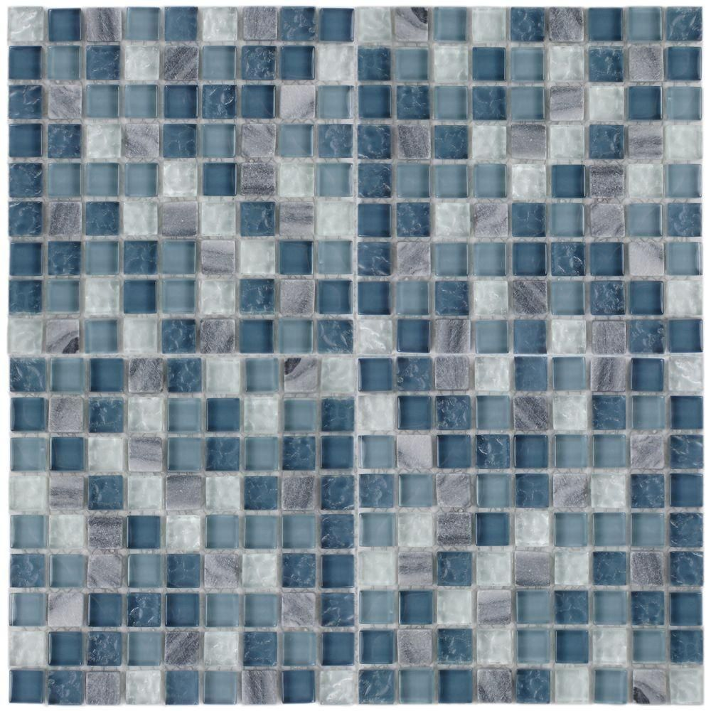 Merola Tile Tessera Mini Gulf 11-3/4 in. x 11-3/4 in. x 8 mm Glass ...