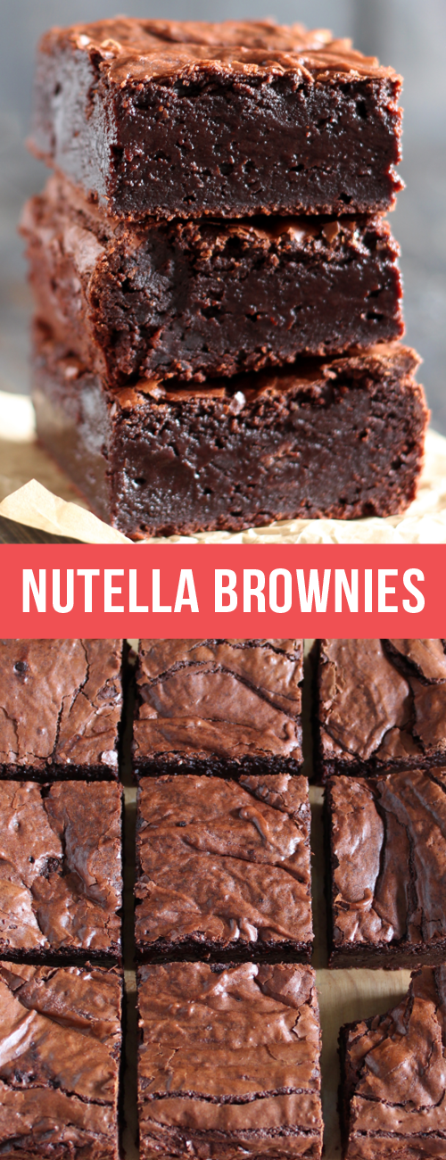 Nutella Brownies are perfectly thick, chewy, fudgy, and slightly gooey with a hi... Nutella Brownie
