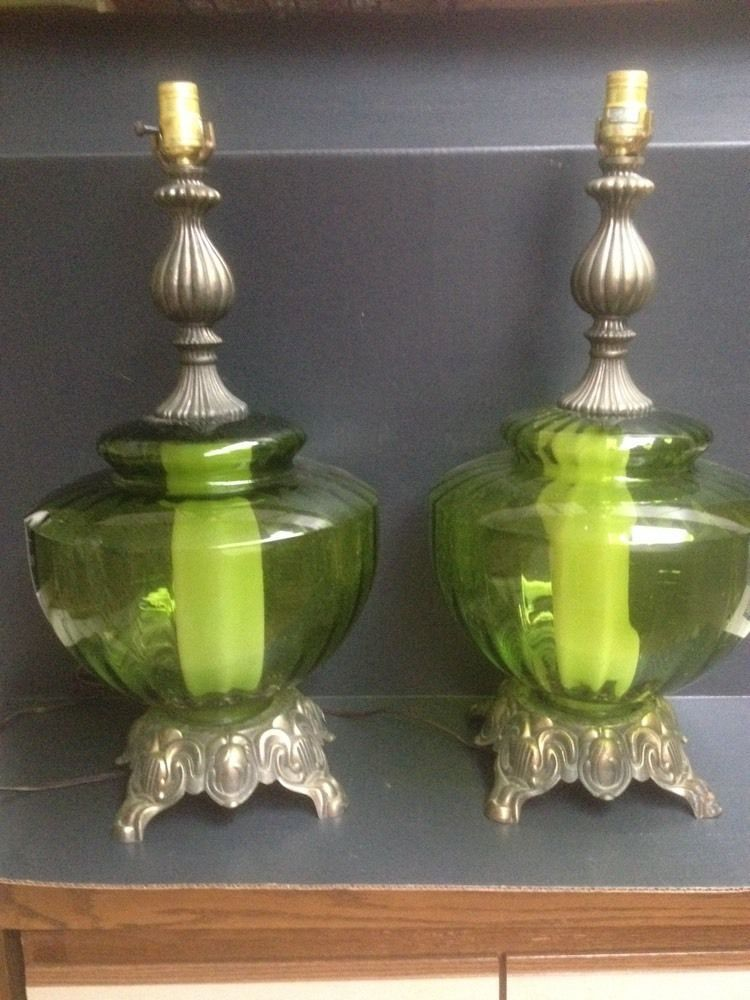 Details About Pair 2 Tall Brass Table Lamps Hollywood
