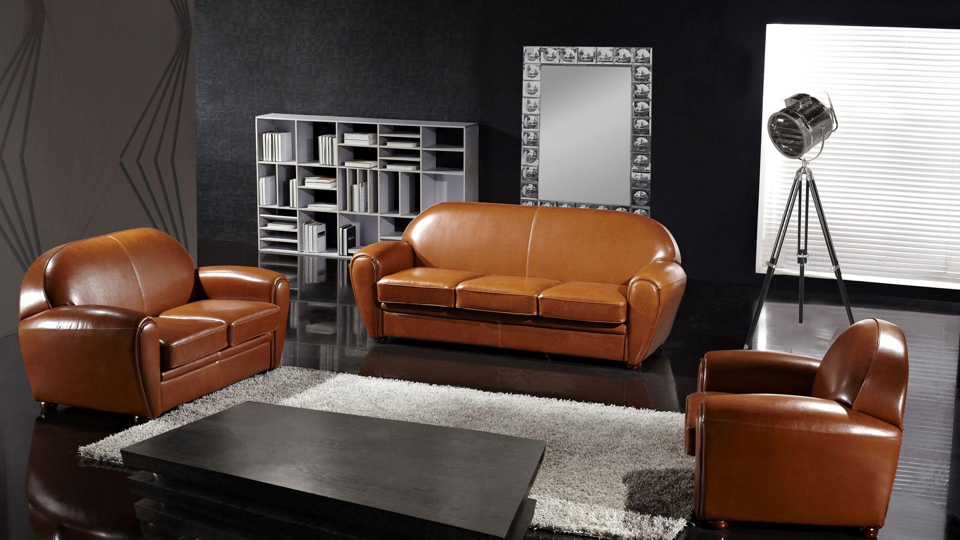 Salon club canapé 3 places + canapé 2 places + fauteuil ...