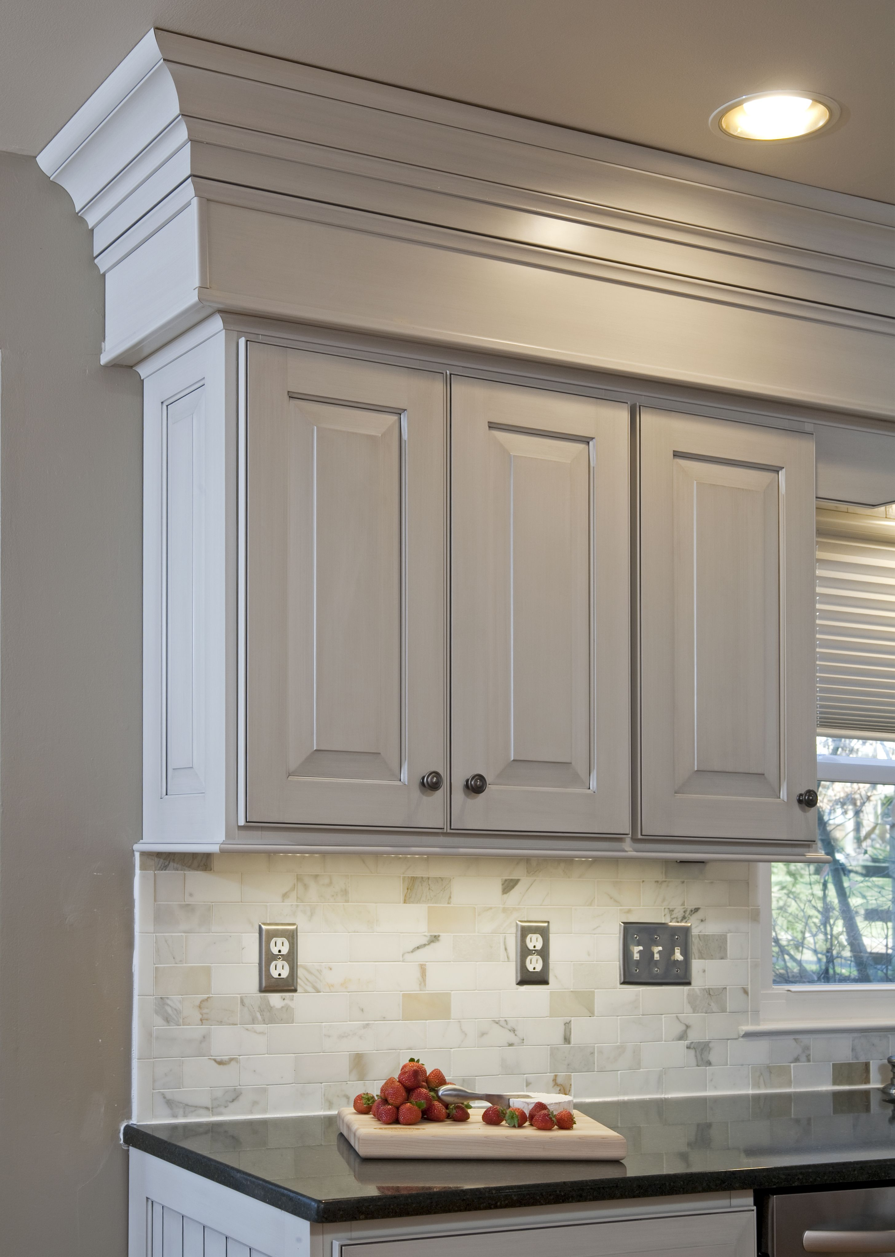 The Veneto Finish Pulls Out The Warm Gray Tones In The New 2 X 3 Marble Backsplash The Cab Wainscoting Bathroom Dining Room Wainscoting Wainscoting Kitchen