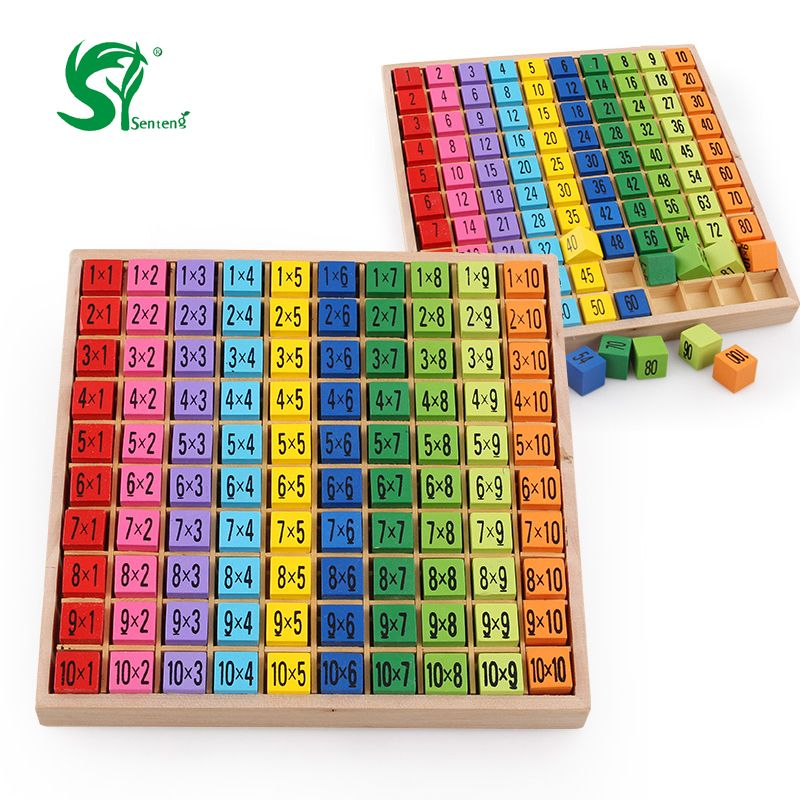 wooden toy montessori early digital learning arithmetic math wood puzzle board